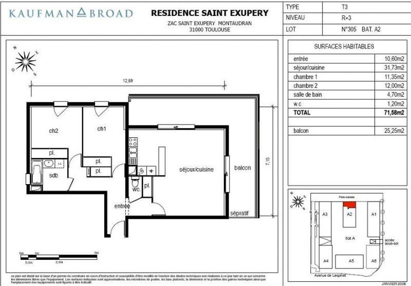 Appartement f3 neuf 72m2 25m2 balcon montaudran toulouse for Sejour cuisine 25m2